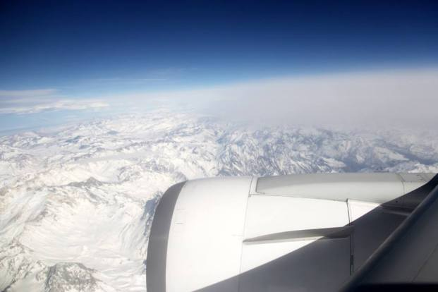 Cordilheira dos Andes cheia de neve